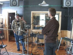 Bob Hamilton and MC Hansen talking shop at Old Crow Recording Studios in Whitehorse, Yukon