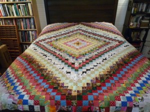 "Front of quilt in ""Trip Around the World"" pattern."