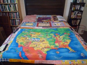 The back of the quilt using larger pieces of fabric.